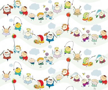Seamless children vector wallpaper with happy kids