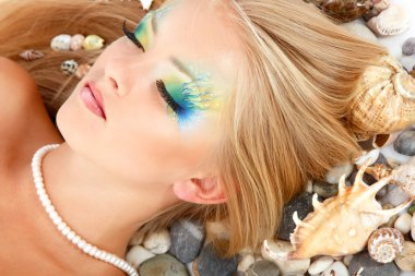 Teenager girl mermaid make-up