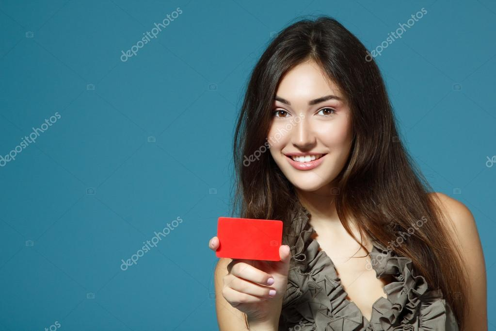 Teen girl showing red card
