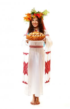 Ukrainian young woman in native costume