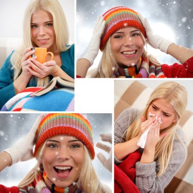 Winter collage. Fun, relaxation, cold stock vector