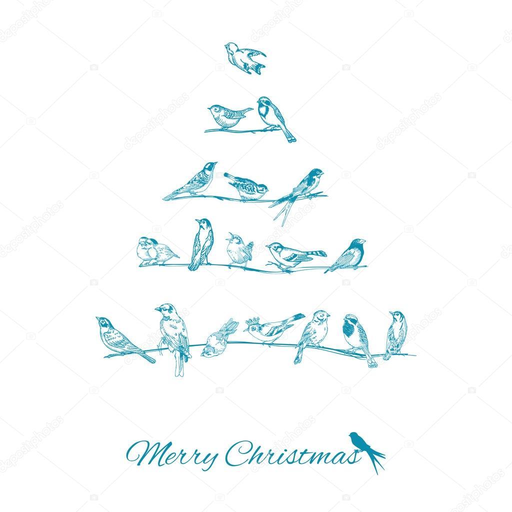 Christmas Card - Birds on Christmas Tree - for invitation