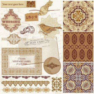 Vintage Wedding Scrapbook Set- Persian Tiles and Birds in vector