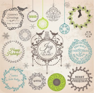 Vector Set: Christmas Calligraphic Design Elements and Page Deco