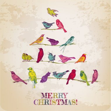 Retro Christmas Card - Birds on Christmas Tree - for invitation,