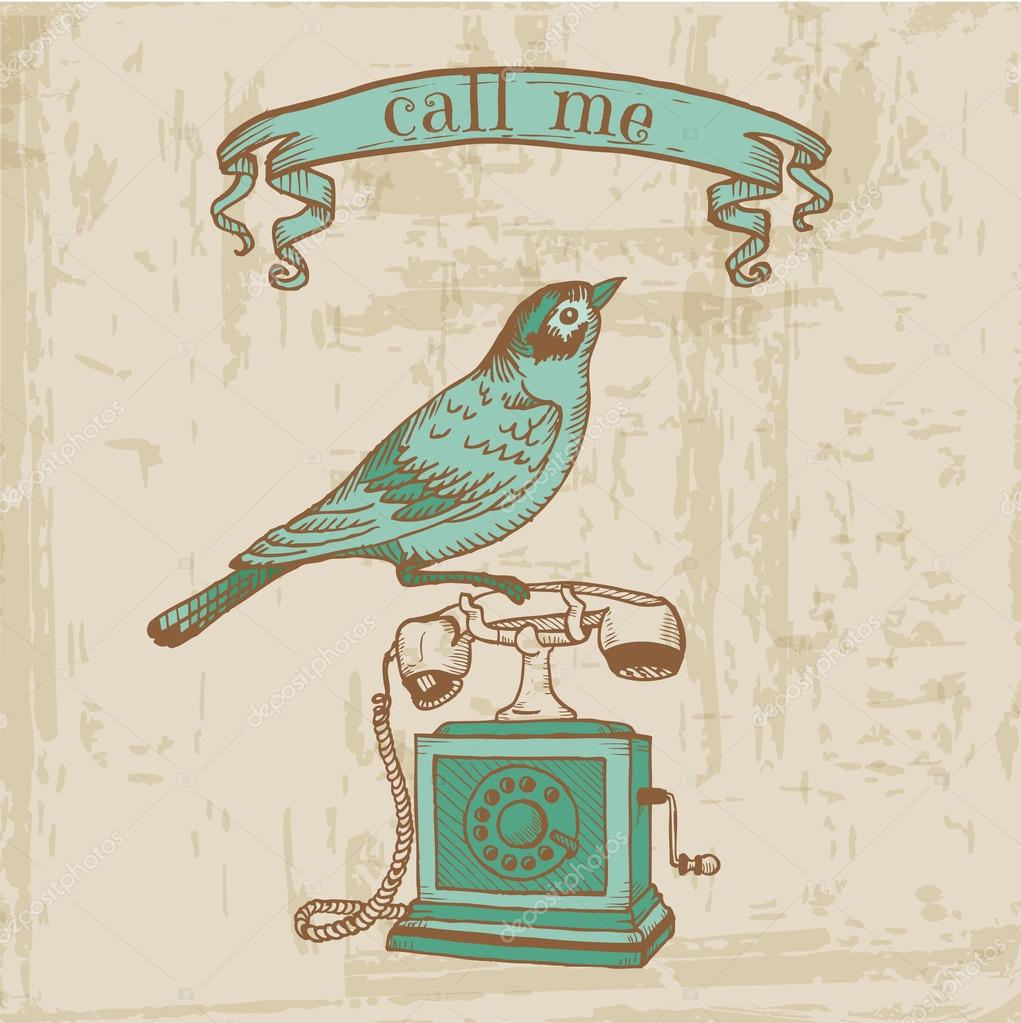 Scrapbook Design Elements - Vintage Telephone with a Bird