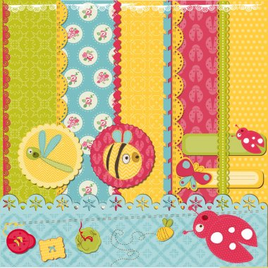 Scrapbook Design Elements -Funny Baby Bugs - in vector