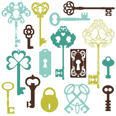 Collection of Antique Keys - for your design or scrapbook - in v