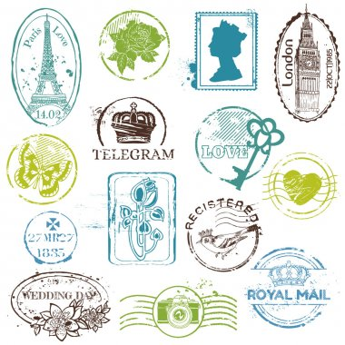 Vintage Rubber Stamp Collection - for your design, scrapbook - in vector clip art vector