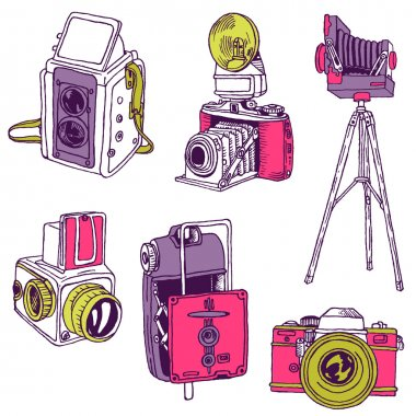 Set of Photo Cameras - hand-drawn doodles in vector
