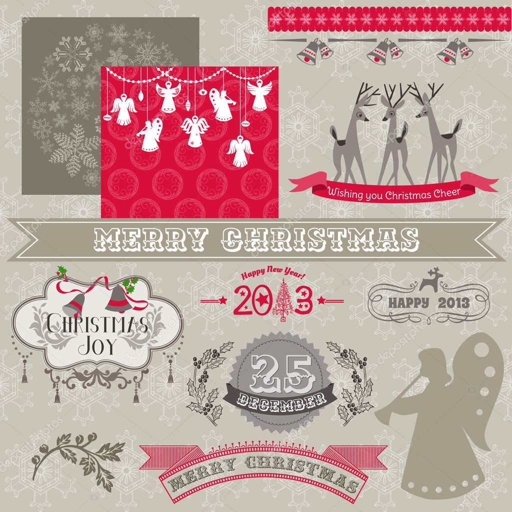 Scrapbook Design Elements - Vintage Merry Christmas and New Year