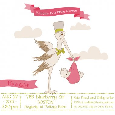 Baby Shower Card with Stork - with place for your text - in vect