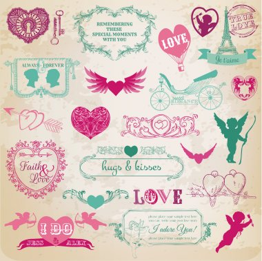 Big set with love design elements for decoration clip art vector