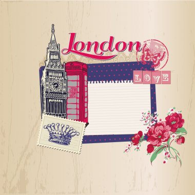 Scrapbook Design Elements - London Vintage Card with Stamps - in