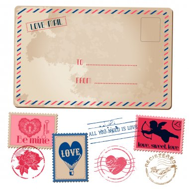 Vintage Love Valentine Postcard and Stamps - for design, invitat