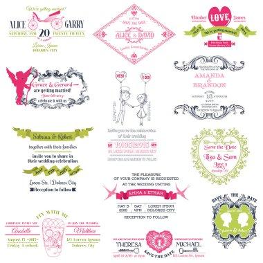 Wedding Vintage Invitation Collection - for design, scrapbook -