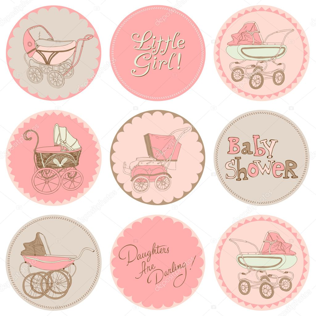 How to scrapbook for baby girl - Baby Girl Shower Party Set For Your Design And Scrapbook In Ve Stock Illustration