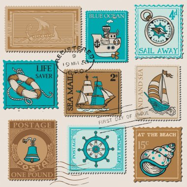 Vector Set of Retro SEA POST Stamps - High Quality - for design