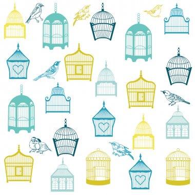 Birds and Birdcages Background - for design or scrapbook - in ve