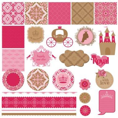 Scrapbook Design Elements - Princess Girl Birthday Set - in vect
