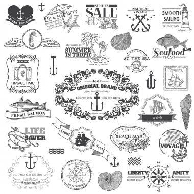 Nautical Sea Calligraphic Elements - for scrapbook and design