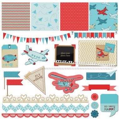 Scrapbook Design Elements - Baby Boy Plane Elements - in vector