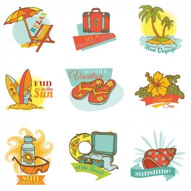 Set of Vintage Summer Labels - for design or scrapbook - in vect