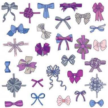 Set of gift Bows with Ribbons - for design and scrapbook