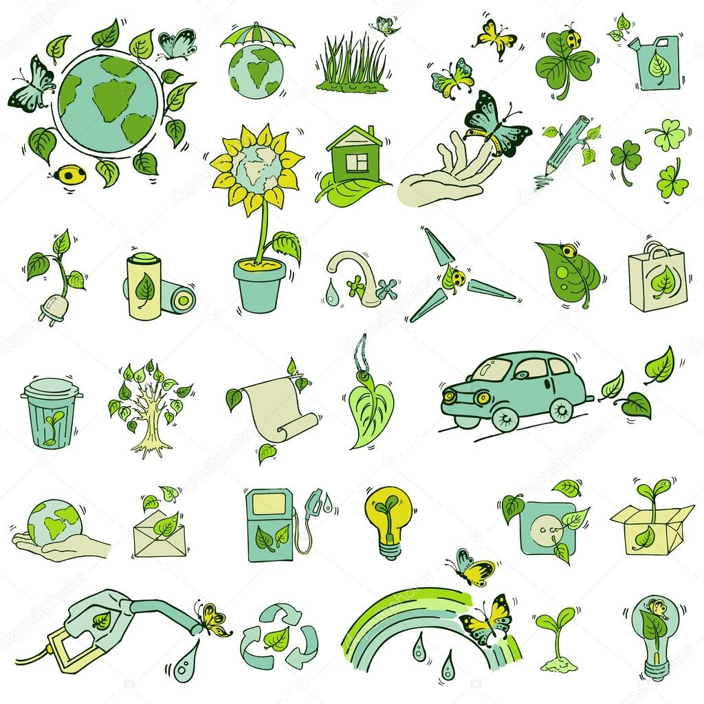 Ecology and recycle icons - hand drawn vector set