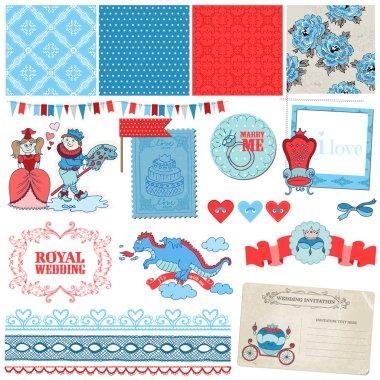 Scrapbook Design Elements -Princess and Prince Wedding Vintage Set