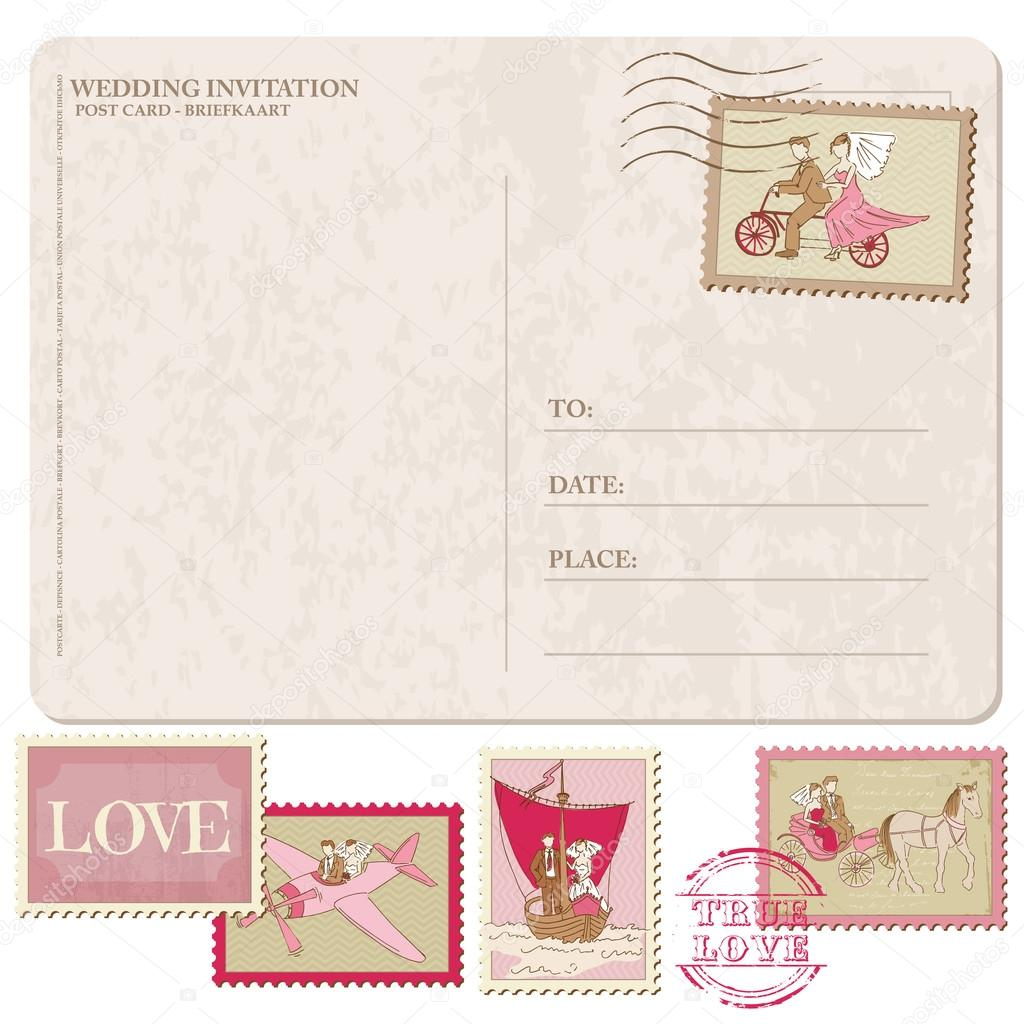 Wedding Invitation   Vintage Postcard With Postage Stamps U2014 Stock Vector