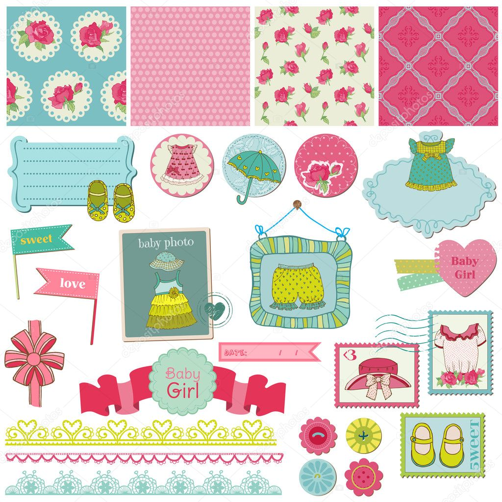 How to scrapbook for baby girl - Scrapbook Design Elements Baby Girl Set In Vector Vector By Woodhouse