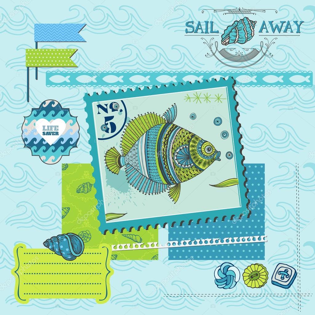 Scrapbook Design Element - Tropical Fish and Sea Horse Theme