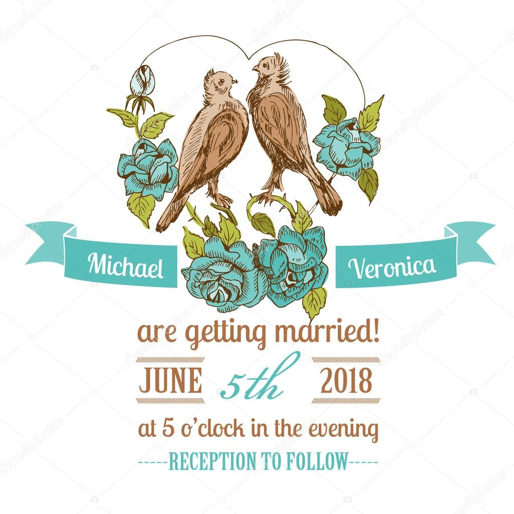 Wedding Vintage Invitation Card - Birds and Flowers Theme — Stock ...