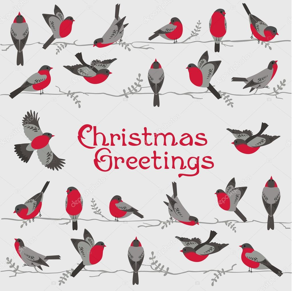 Retro Christmas Card - Winter Birds - for invitation