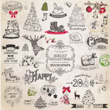 Vector Set: Christmas Calligraphic Design Elements and Page Decoration