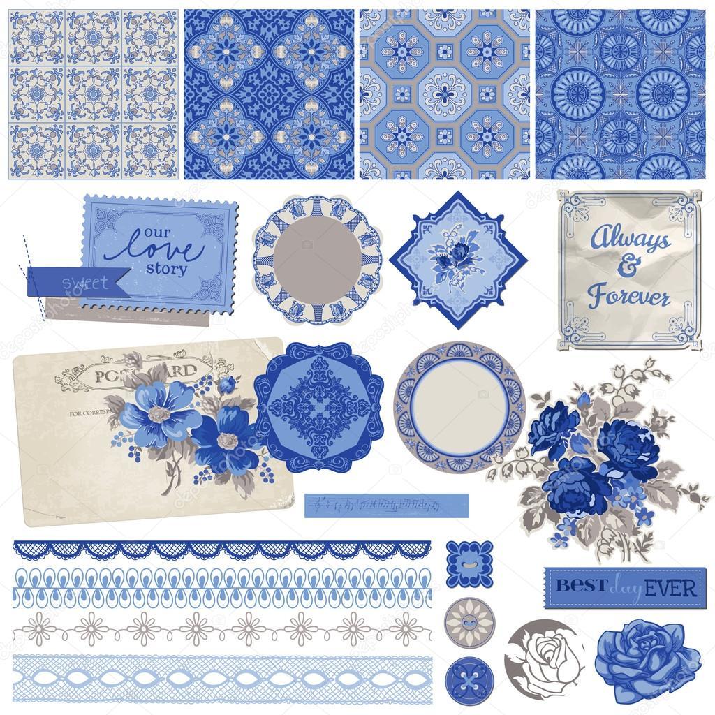 Scrapbook Design Elements - Vintage Porcelain and Flower Set