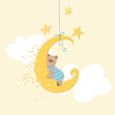 Baby Shower or Arrival Card - Sleeping Baby Bear - in vector