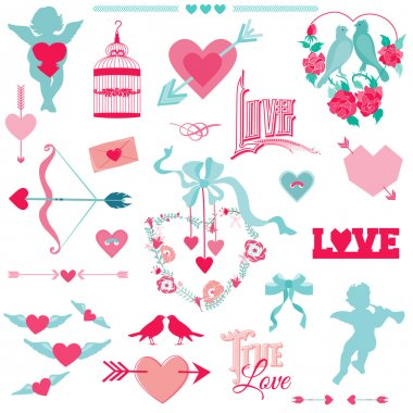 Vintage Love Elements - for Wedding and Valentine's Day