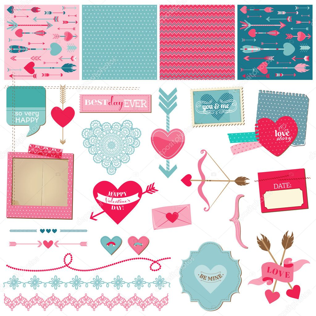 Scrapbook Design Elements - Love, Heart and Valentines -