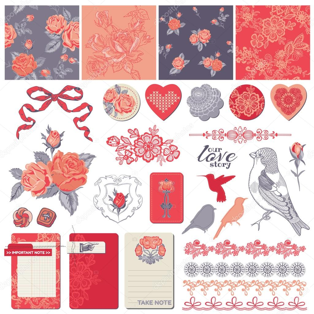 Scrapbook Design Elements - Vintage Roses and Birds - in vector