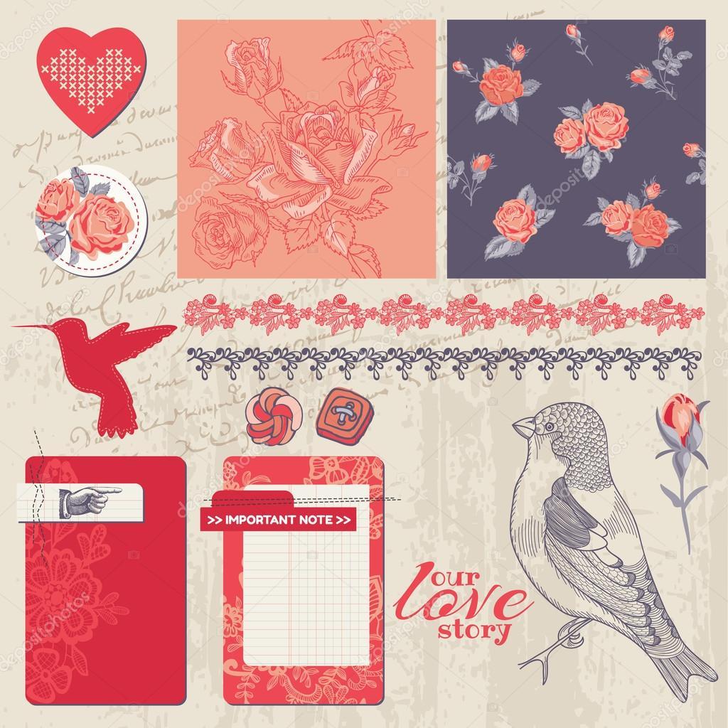 Scrapbook Design Elements - Vintage Roses and Birds - in vector