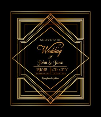Wedding Invitation Card - Art Deco & Gatsby Style - save the date