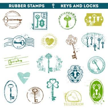 Set of Rubber Stamps - Antique Keys and Locks
