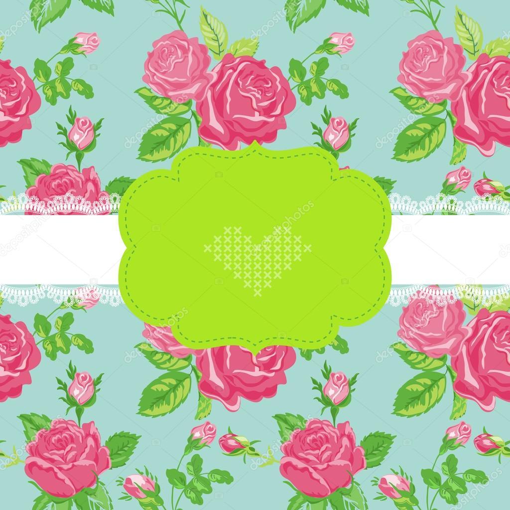 Floral Shabby Chic Karte   Baby Dusche, Einladung, Hochzeit Karte   In  Vektor U2014 Vektor Von Woodhouse