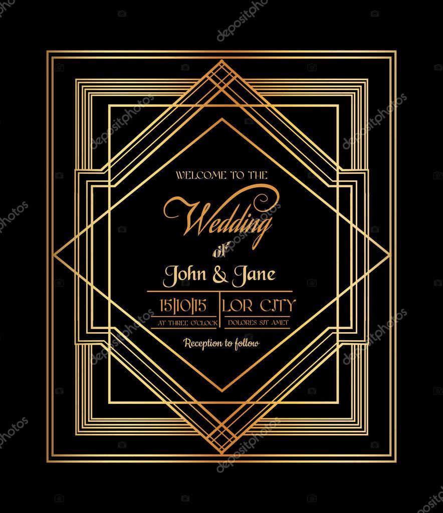 Wedding Invitation Card - Art Deco & Gatsby Style - save the date