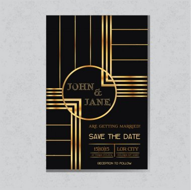 Save the Date  - Wedding Invitation Card in Art Deco Design
