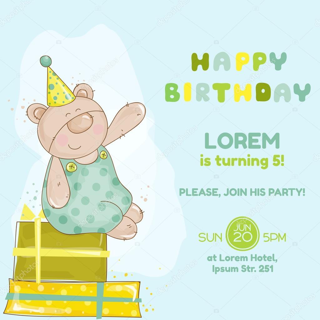 Invitacion Cumpleaños Bebe Tarjeta De Cumpleaños Bebé Oso
