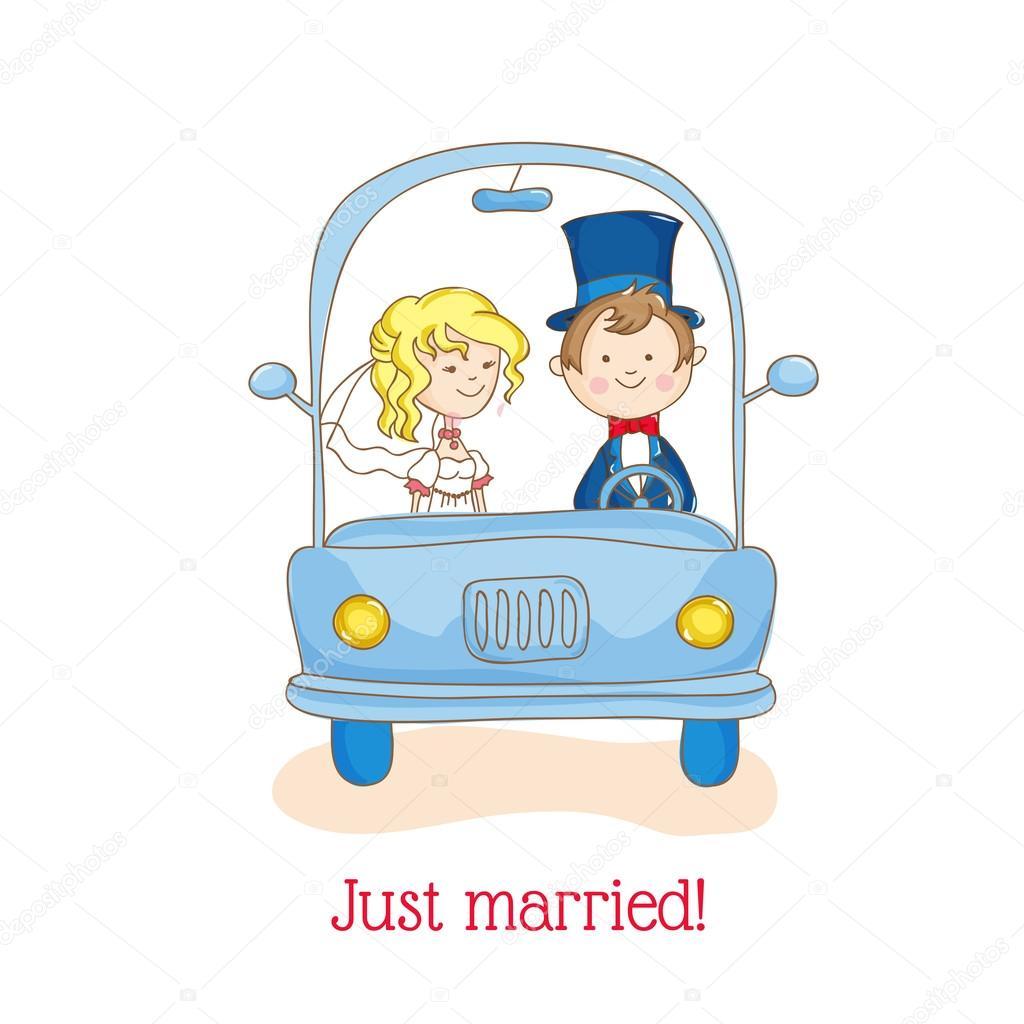 Carte D Invitation Mariage Theme Juste Maries Voiture