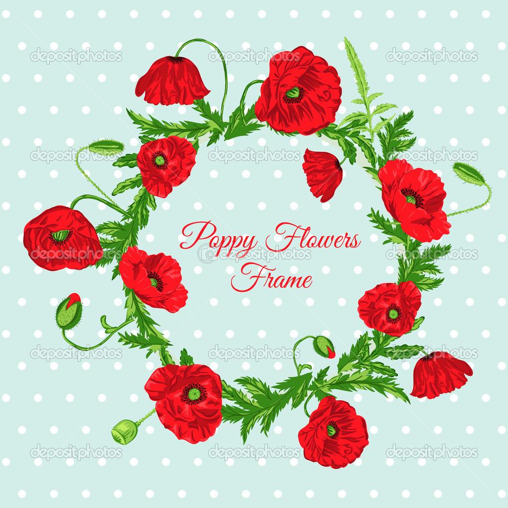 tarjeta vintage - con marco de flores de amapola — Vector de stock ...